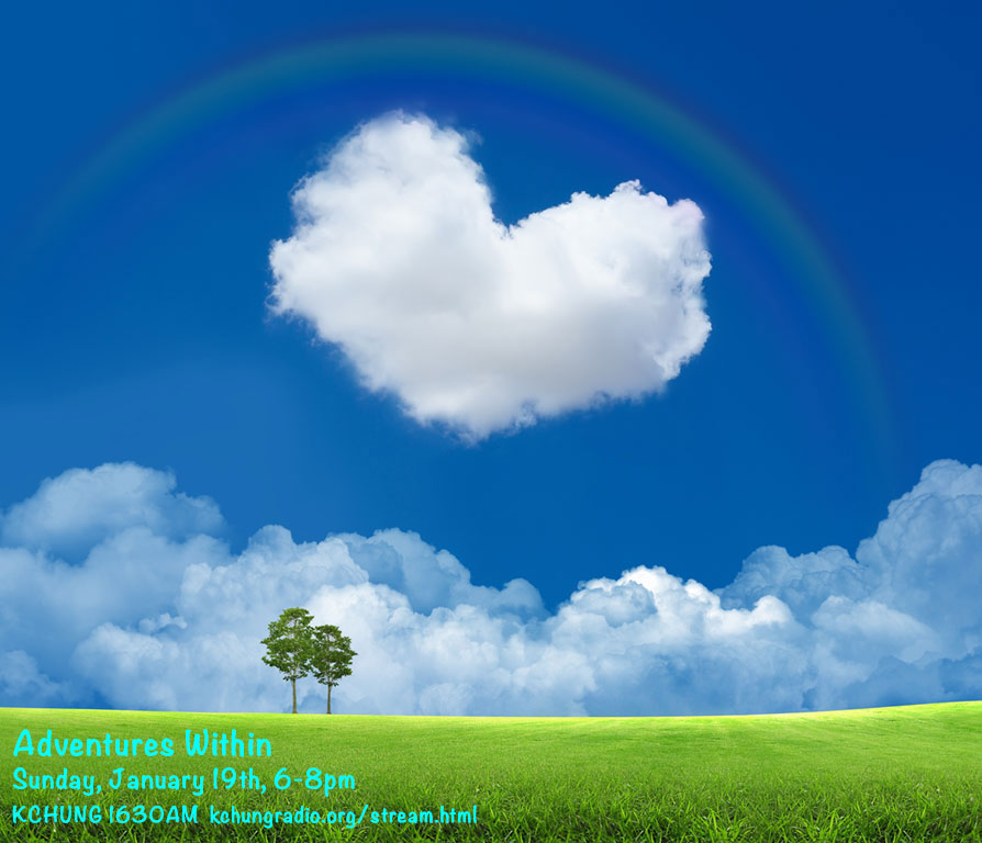 image of a cloud shaped heart in the sky with a rainbow over a green pasture