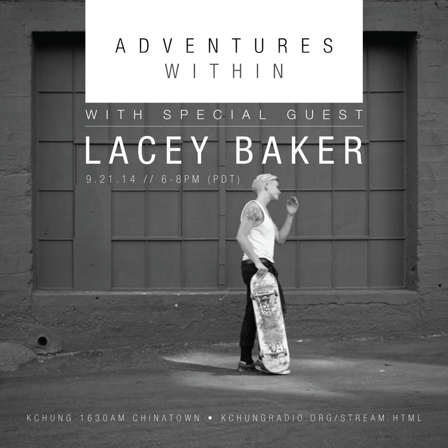 black and white photo of Lacey Baker walking with her skateboard with overlaid graphic text advertising the show