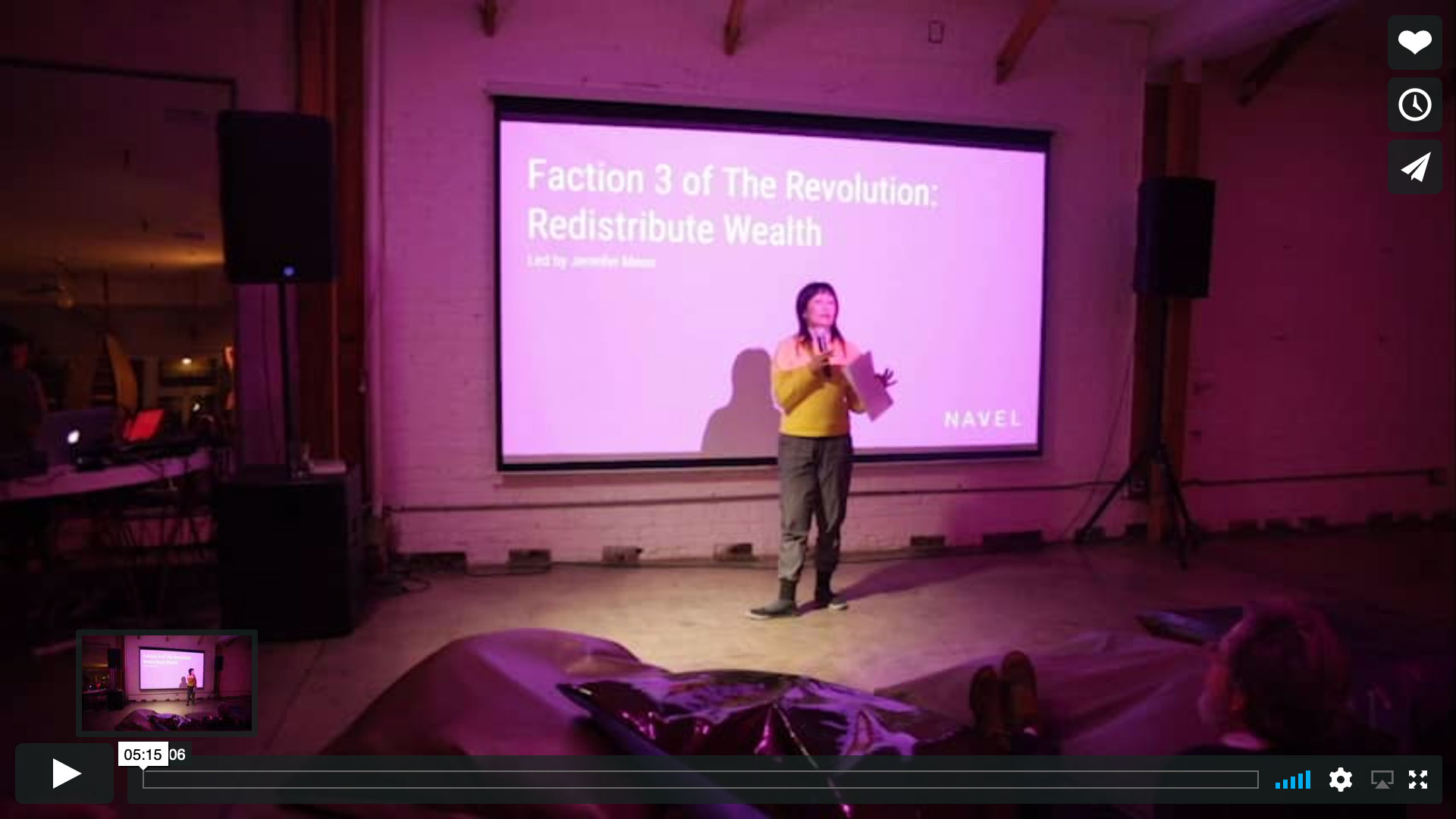 screen shot of Jennifer Moon's video proposal for NAVEL Assembly, Faction 3 of The Revolution: Redistribute Wealth