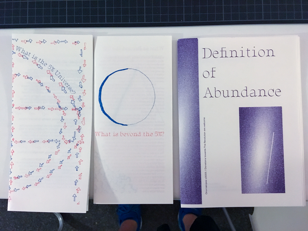 5% universe pamphlets and 4th edition of Definition of Abundance printed by Onomatopee