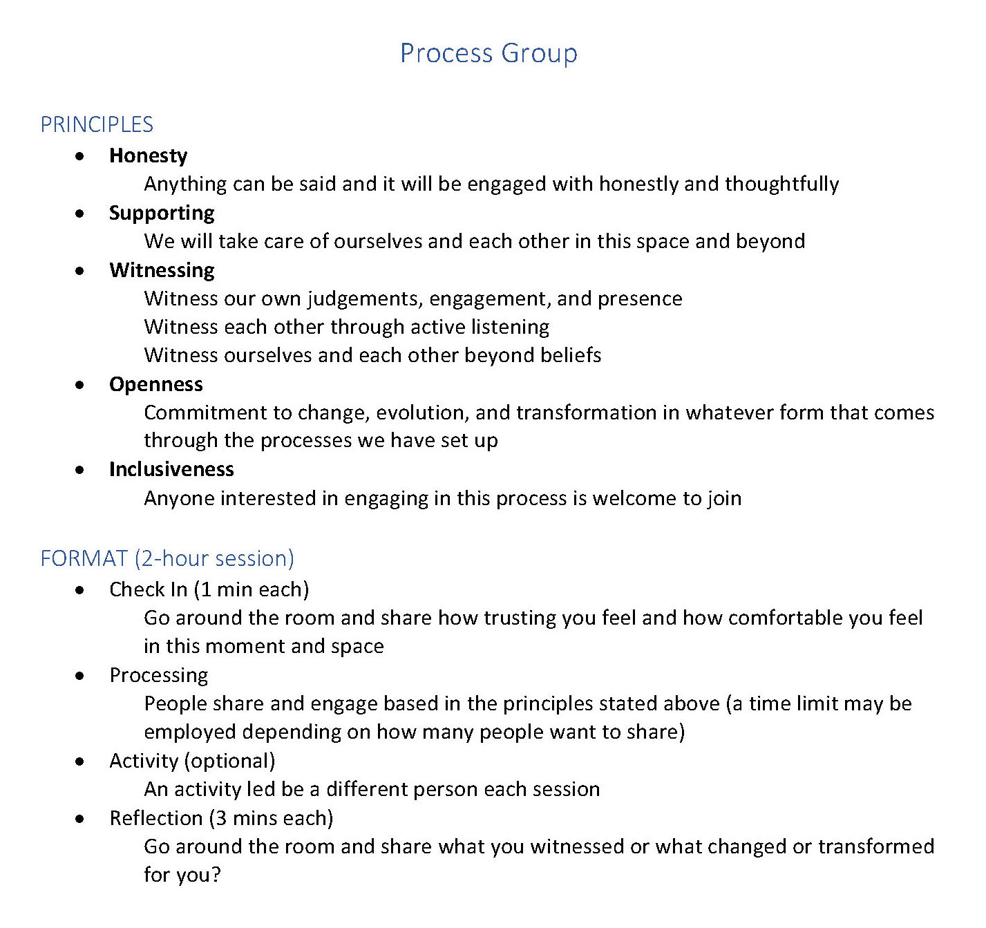 Principles and format of the process group