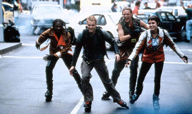 rollerblading scene from the 1995 movie Hackers